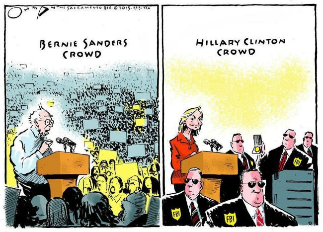 bernie sanders crowd vs hillary clinton crowd