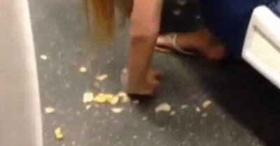 Girl eats chips off the ground – gif