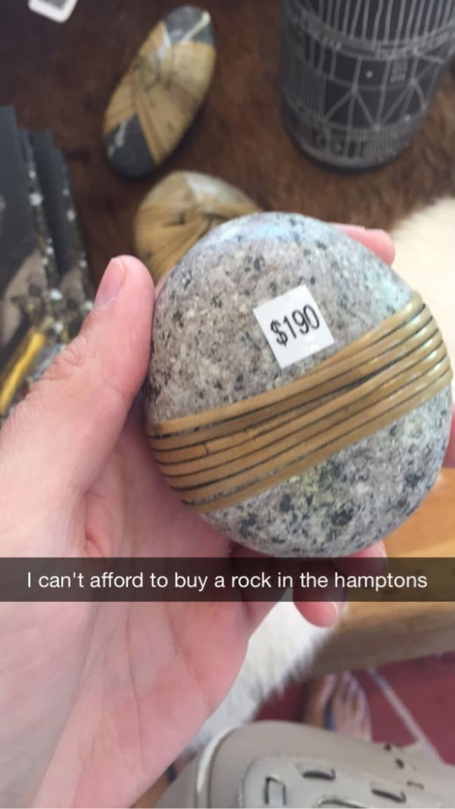 i cant afford a rock in the hamptons
