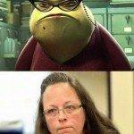 Kim Davis Looks Just Like Roz From Monsters Inc