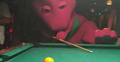 Barney Playing Pool