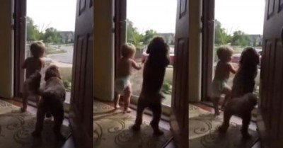 Daddy's home – baby and dog dancing gif