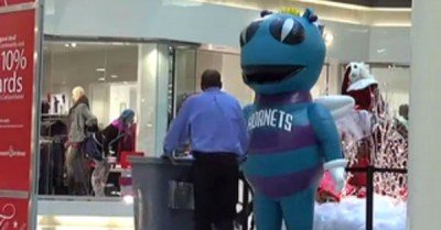 Hornets mascot scares guy – gif