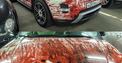 Zombie (blood covered) Range Rover