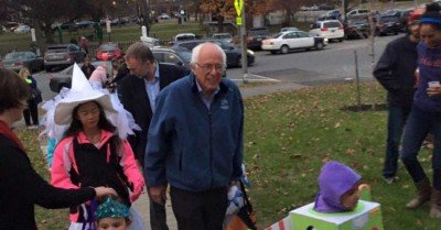 Bernie Sanders Trick or Treating with his grandkids