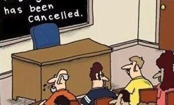 Tonight's English as a second language class has been cancelled. – comic