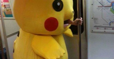 Pikachu Rides the Subway