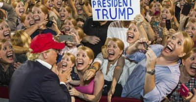 Trump rally crazy lady faceswap meme