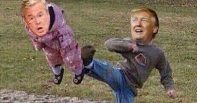 Trump Kicking Jeb meme