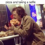 Man Eating Four Slices Of Pizza And Taking A Selfie