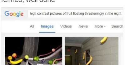 High contrast pictures of fruit floating threateningly in the night