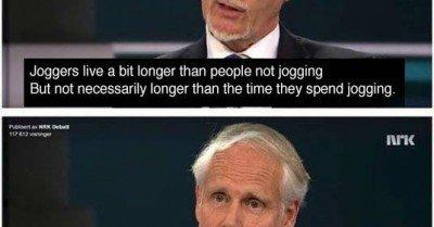 Joggers live a bit longer than people not jogging