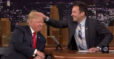 Jimmy Fallon messes up Donald Trump's hair – gif