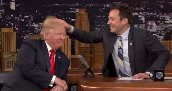 Jimmy Fallon Messes Up Donald Trump's Hair – Gif | lolworthy