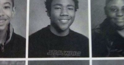 Donald Glover Star Wars shirt yearbook photo